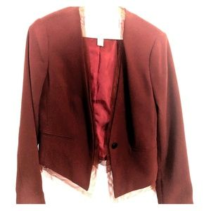 Merlot colored blazer with tulle detail